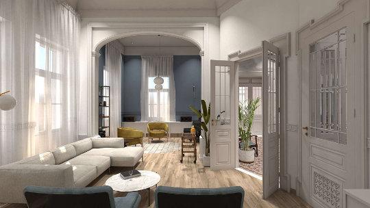 neoclassical residence renovation, interior design, living space, ανακαίνιση νεοκλασικής κατοικίας, καθιστικό