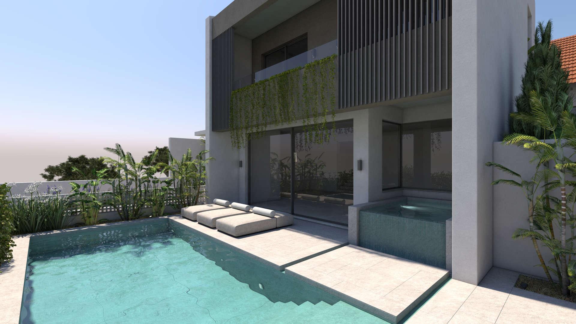 holiday homes design, facade, pool, παραθεριστικές κατοικίες, όψη, πισίνα