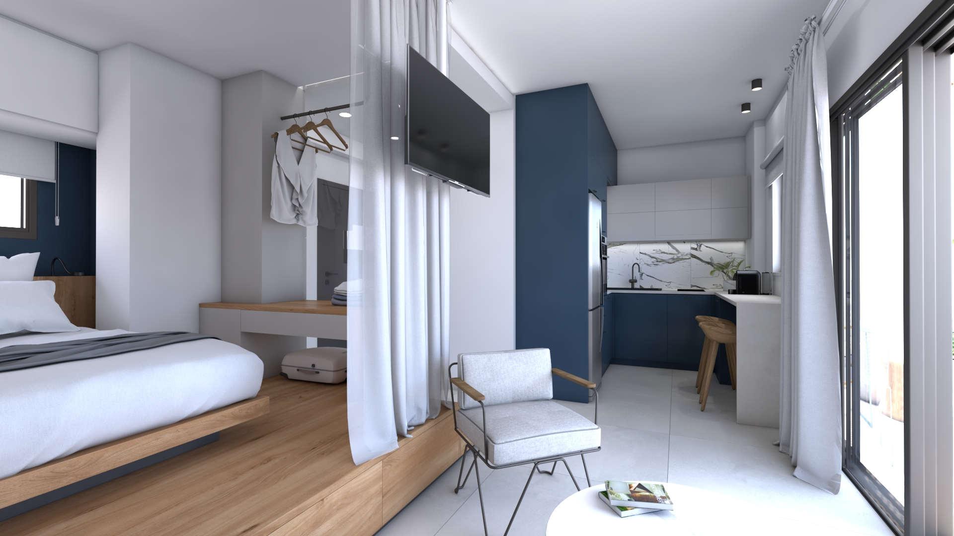 holiday apartment renovation,interior design, living space, kitchen, ανακαίνιση διαμερίσματος ημιδιαμονής, καθιστικό, κουζίνα